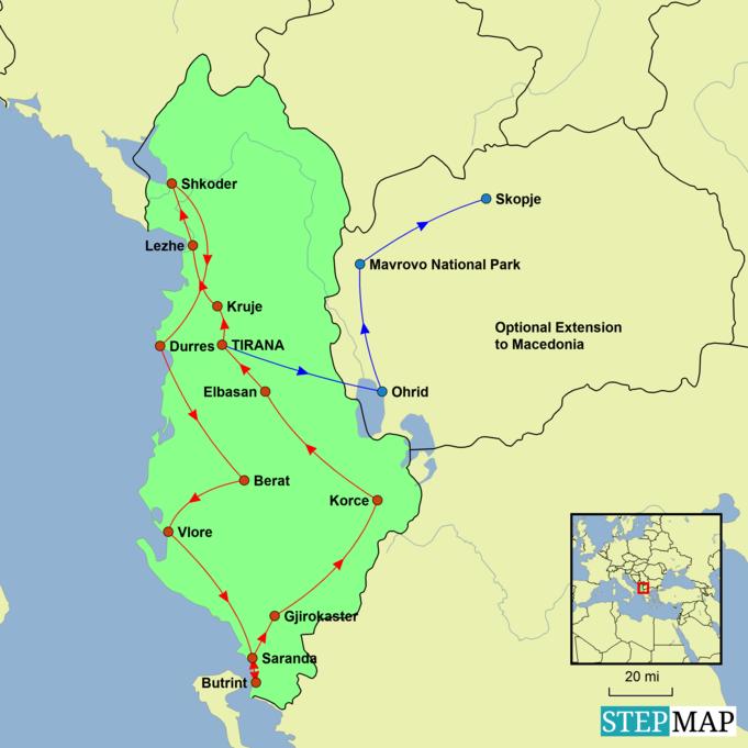 Albania Explorer Tour Map