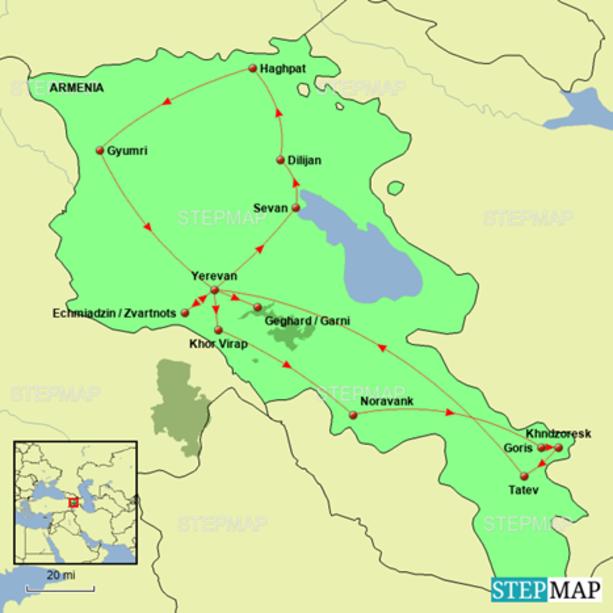 Ancient Armenia Tour Map