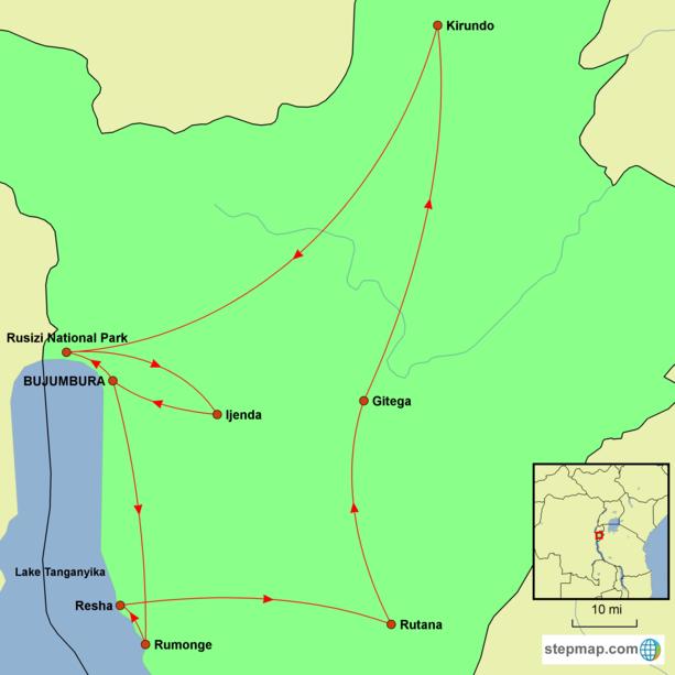 Burundi Tour Map