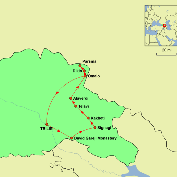 Georgia - Wild Tusheti Tour Map