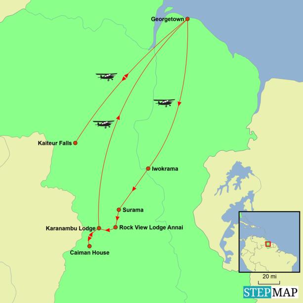 Guyana - Pristine Guyana Tour Map