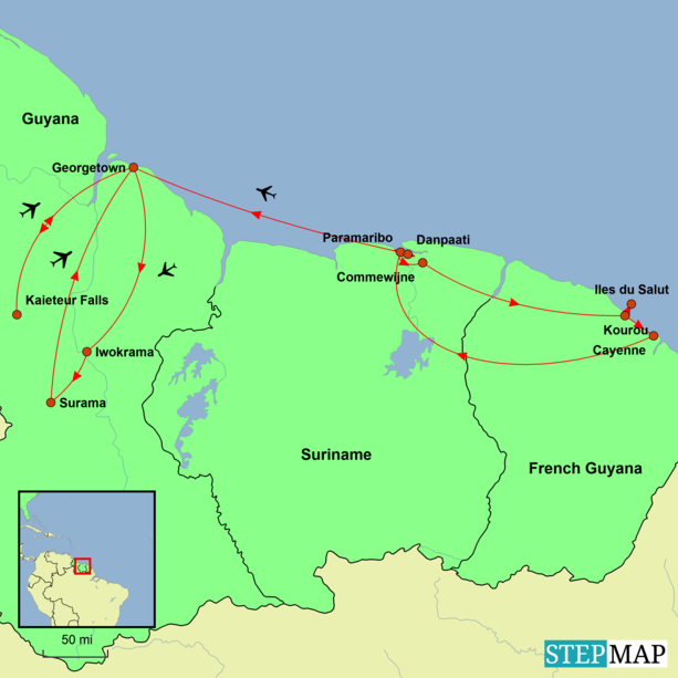 na, Suriname and French Guiana Tour Map