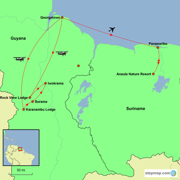 Guyana and Suriname Tour Map