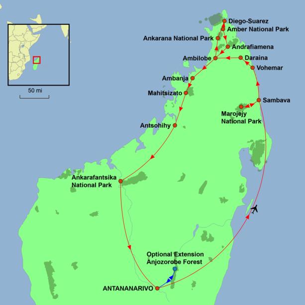 Northern Explorer Madagascar Tour Map