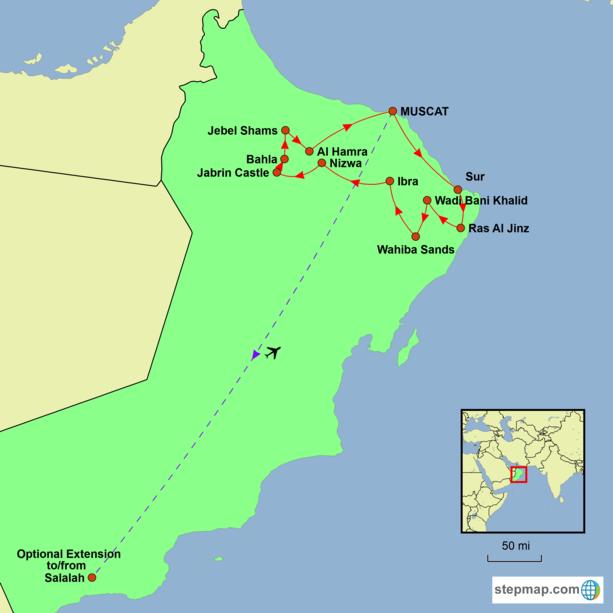 Oman Tour Map