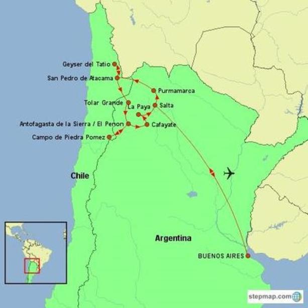Argentina and Chile - Puna & Atacama Experience Tour Map