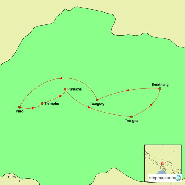 Bhutan Festival Tour Map