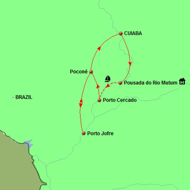 Brazil - Pantanal Explorer Tour Map