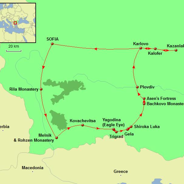 Bulgaria - Essence of Bulgaria Tour Map