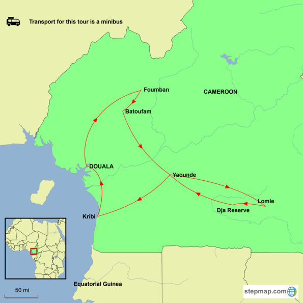 Cameroon - Kingdoms of Cameroon Tour Map