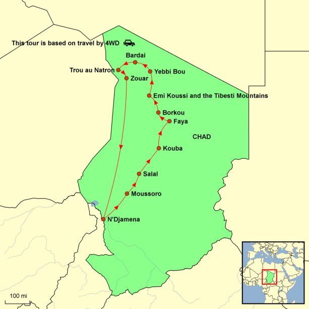 Chad Tour - Peaks of the Tibesti Tour Map