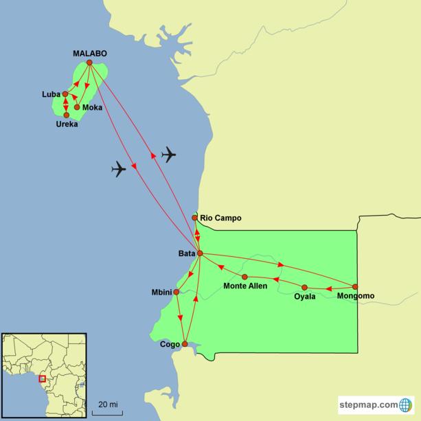 Equatorial Guinea Encompassed Tour Map