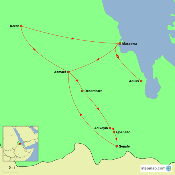 Eritrea Discovery Tour Map