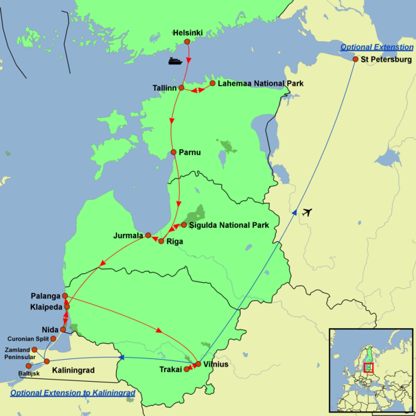 Estonia, Latvia and Lithuania - Baltic Explorer Tour Map