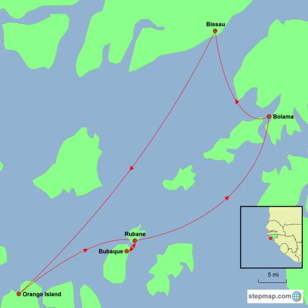 Guinea-Bissau Discovery Tour Map