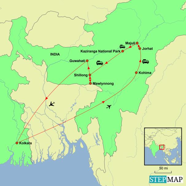 India - Nagaland Hornbill Festival Tour Map