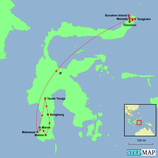 Indonesia - Sulawesi Explorer Tour Map