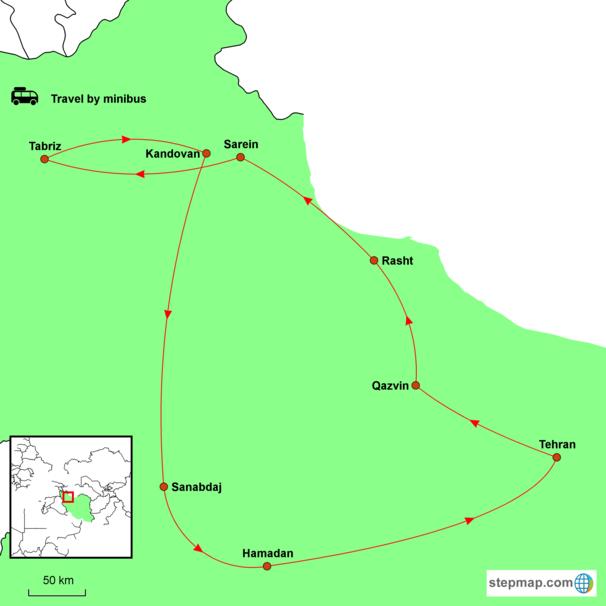 Iran - Beyond the Veil Tour Map