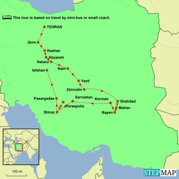 Iran - Treasures of Ancient Persia Tour Map