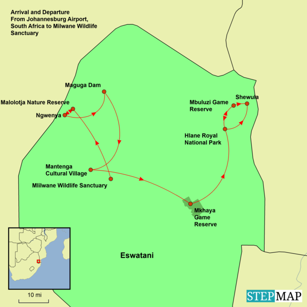 Kingdom of Eswatini Tour Map