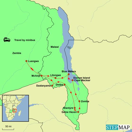 Malawi and Zambia - Best of Malawi and Zambia Tour Map