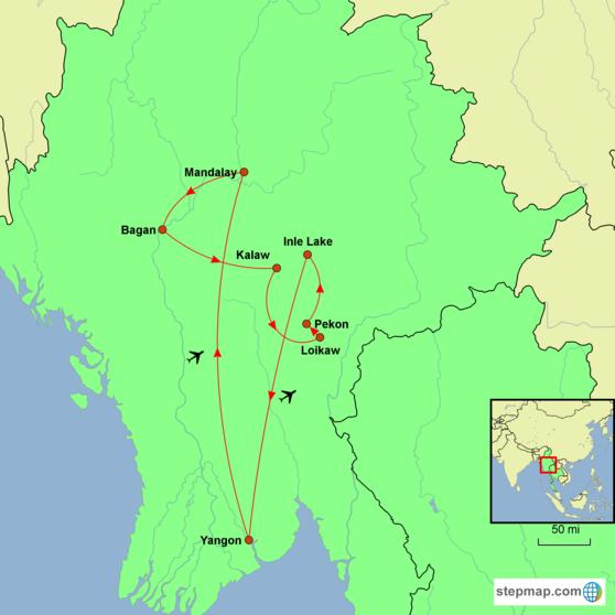 Myanmar - Beyond the Tourist Trail Tour Map