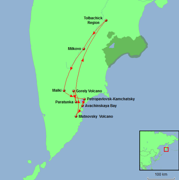 Russia - Kamchatka Tour Map