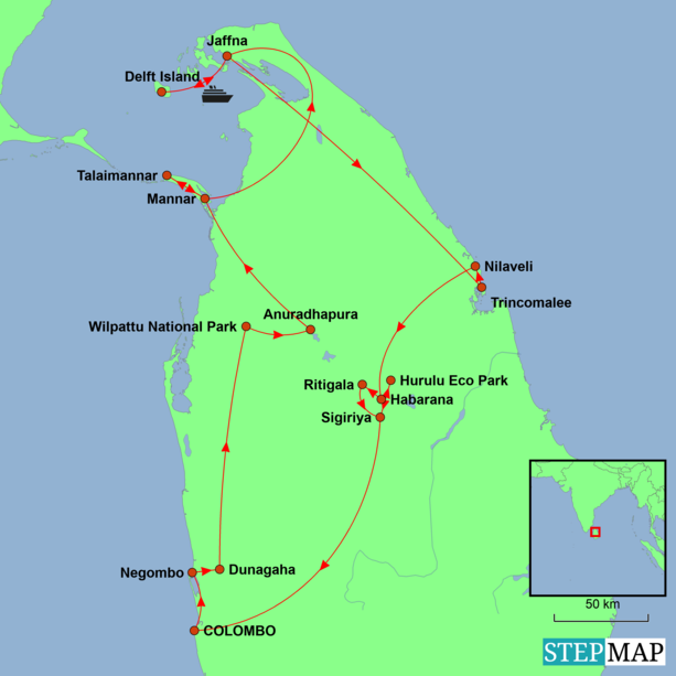 Sri Lanka - Northern Explorer Tour Map