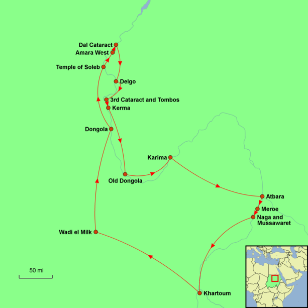 Sudan – Nile Valley and Western Desert Tour Map
