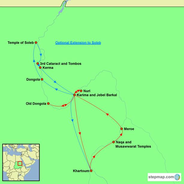 Sudan - Kingdom of the Black Pharaohs Tour Map