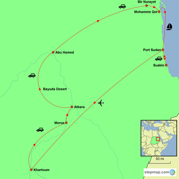 Sudan - The Nubian Desert and the Red Sea Tour Map