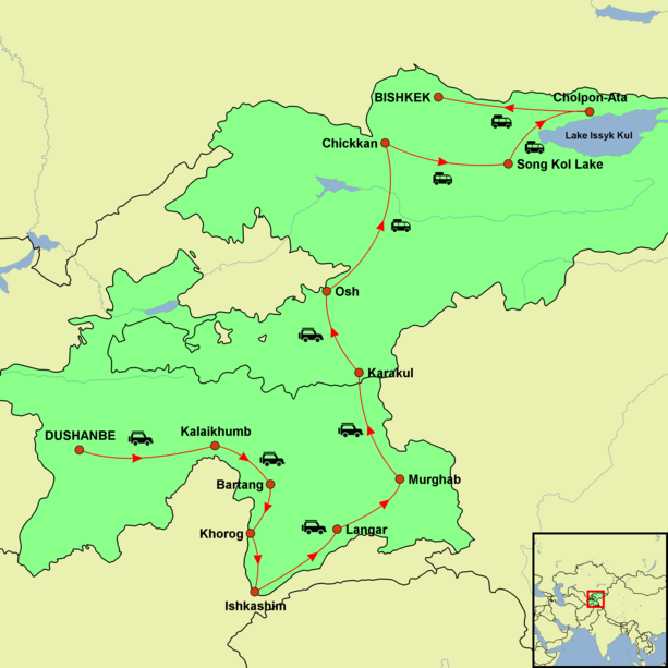 Tajikistan and Kyrgyzstan - Along the Pamir Highway Tour Map