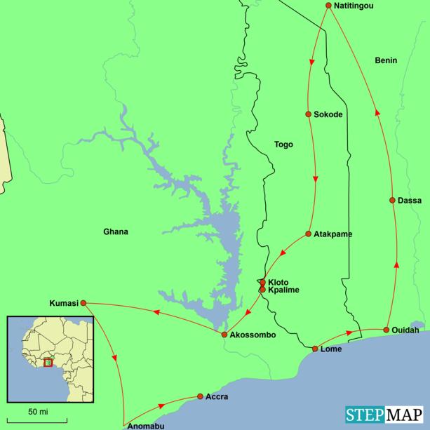 Togo, Benin and Ghana - Ouidah Voodoo Festival Tour Map