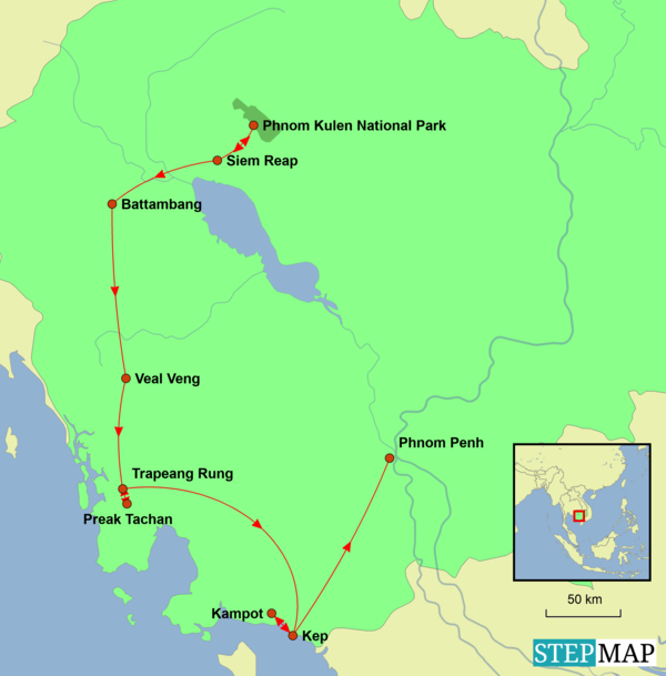 Cambodia - To the Temples and Beyond Tour Map