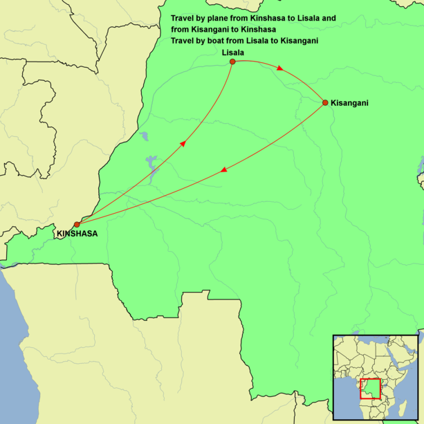 DR Congo - Congo River Expedition Tour Map