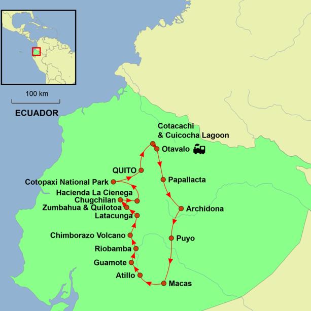 Ecuador - Astride the Equator Tour Map