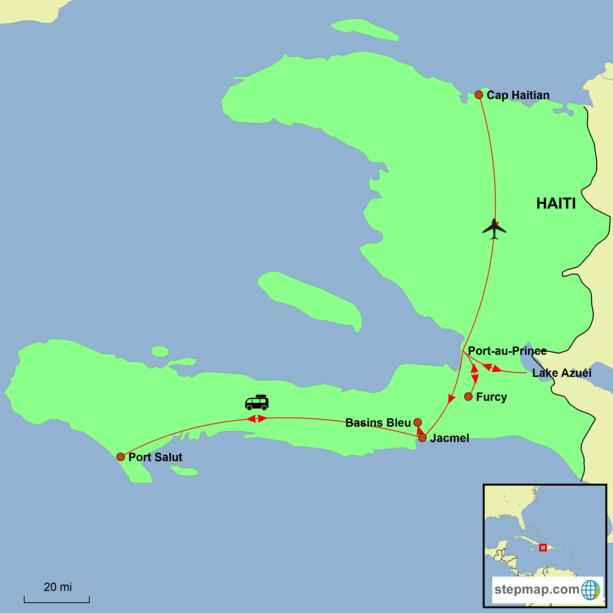 Haiti – Land of Mountains Tour Map
