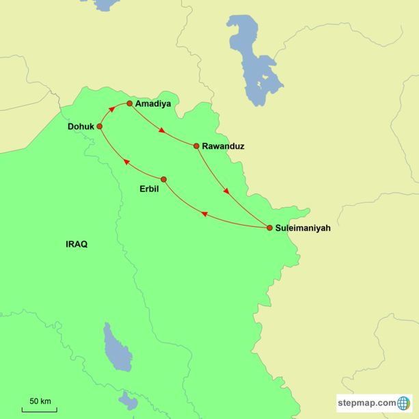 Iraq - Highlights of Kurdistan Tour Map
