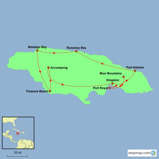 Jamaica - Jamaica Discovery Tour Map