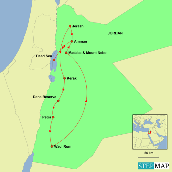 Jordan - Desert and History Tour Map