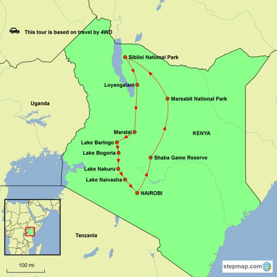 Kenya - Jade Sea Explorer Tour Map
