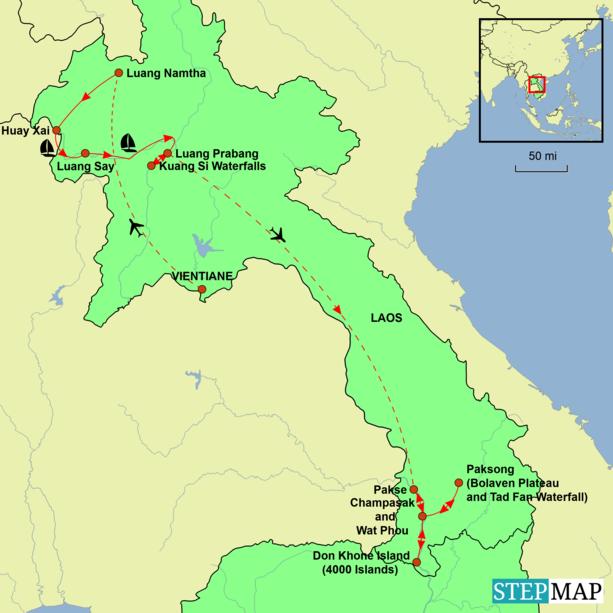 Laos Tour – The Secret Heart of Asia Tour Map