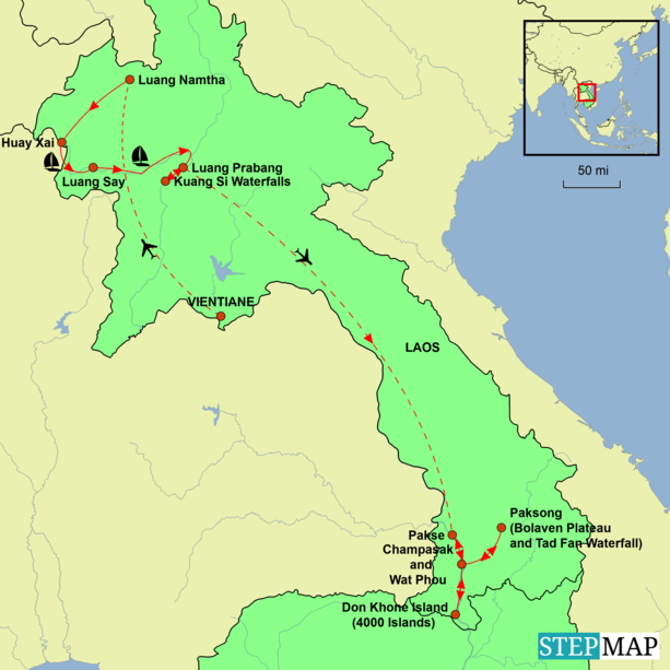 Laos and Vietnam Tour - Treasures of the North Tour Map