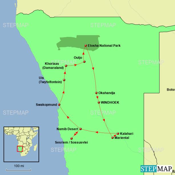 Namibia - Desert Dreams Tour Map