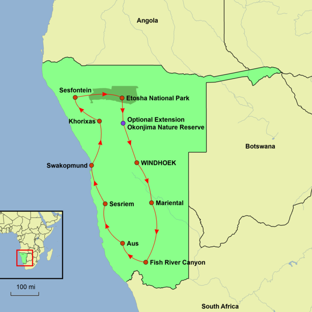 Namibia - Namibia Encompassed Tour Map