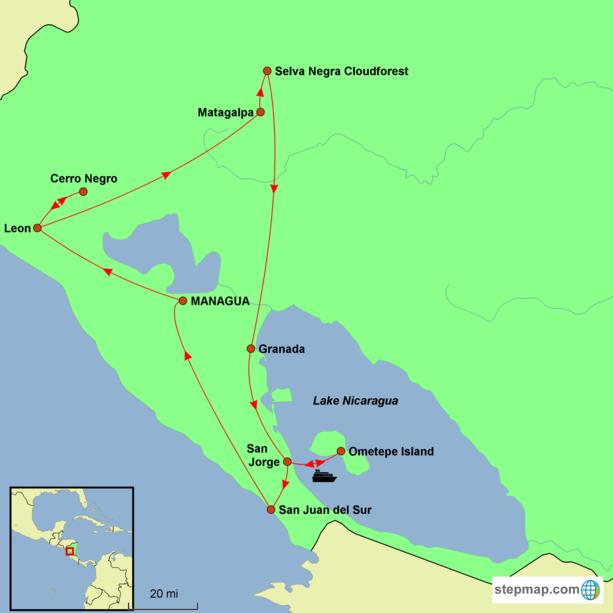 Nicaragua - Best of Nicaragua Tour Map