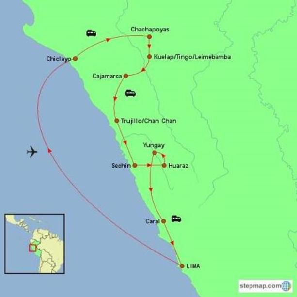 Peru – Beyond the Tourist Trail Tour Map