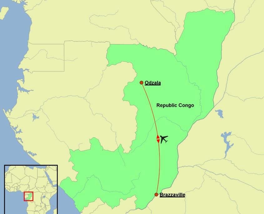 Republic of Congo - Congo Odzala Discovery Tour Map