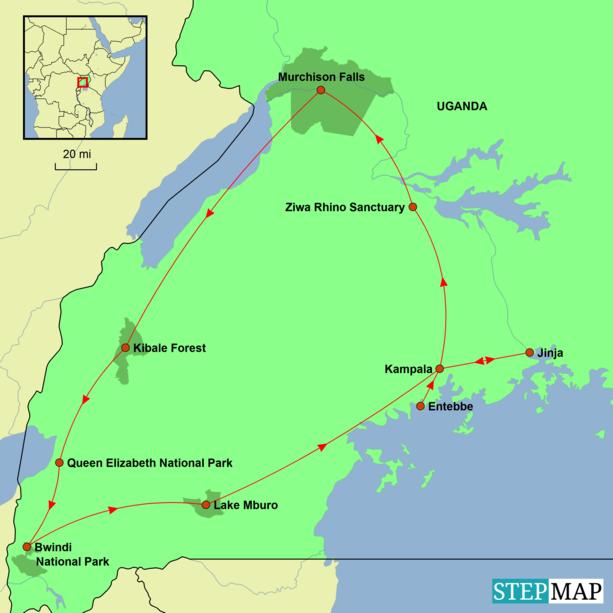 Uganda - Best of Uganda Tour Map