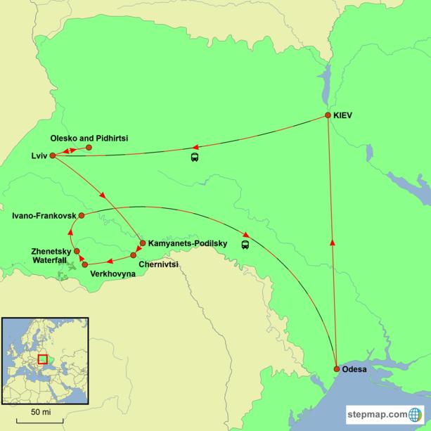 Ukraine - A Journey Through Ukraine Tour map